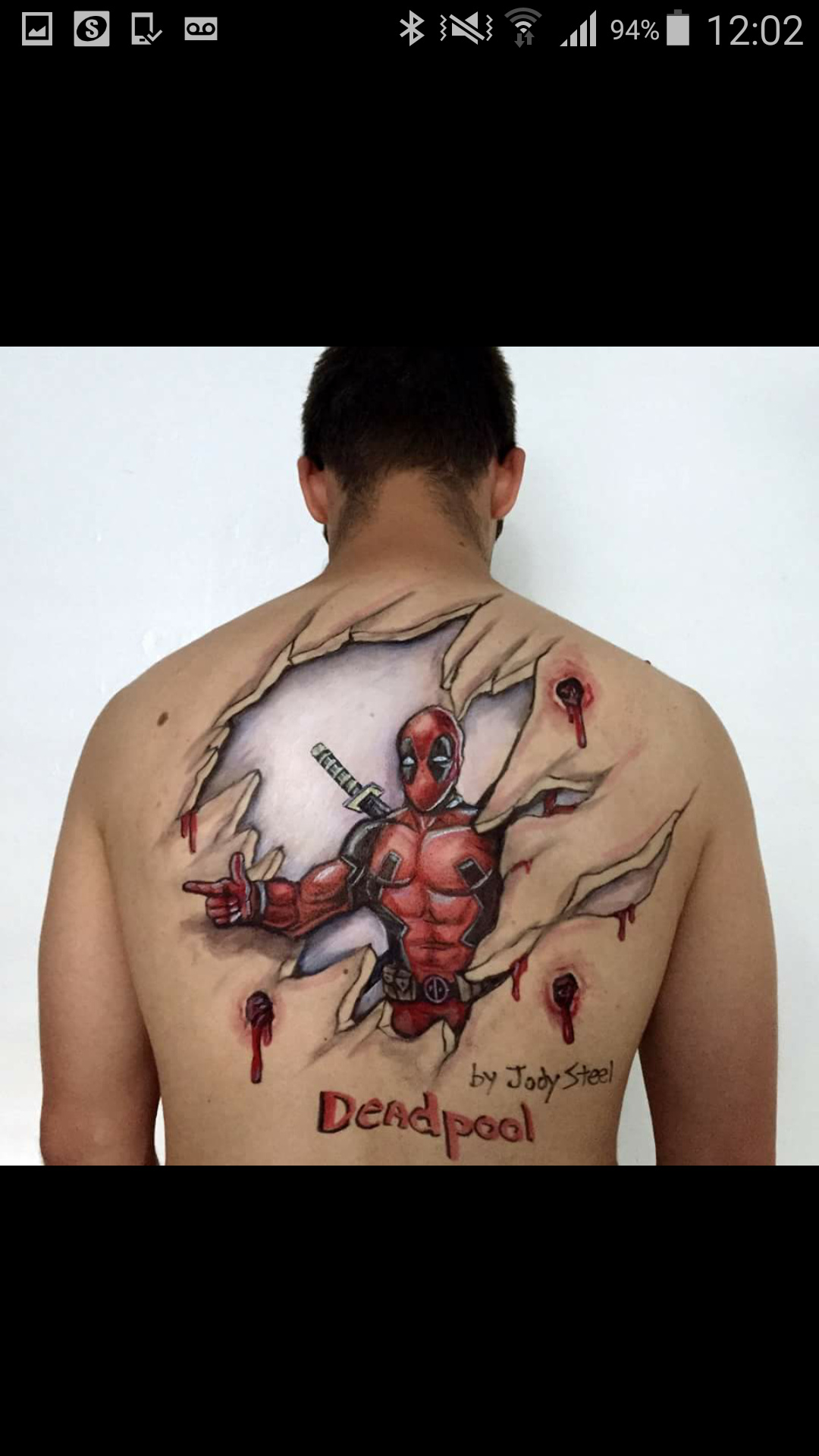 Back drawing of deadpool ....wow - meme