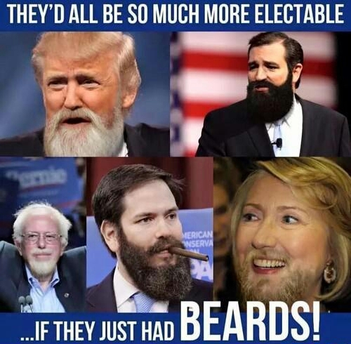 Hillary Clinton with a beard........no thanks - meme