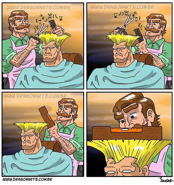 El título fue a cortarse el cabello - meme