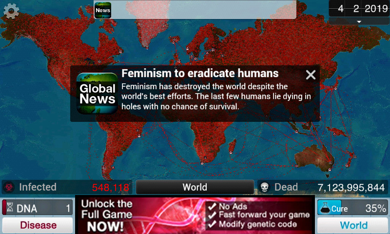 Plague Inc. The feminism program - meme