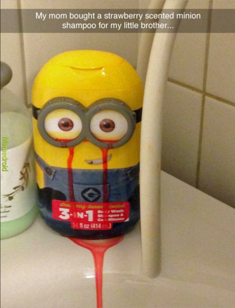 my mom bought my little brother a strawberry minion shampoo - meme