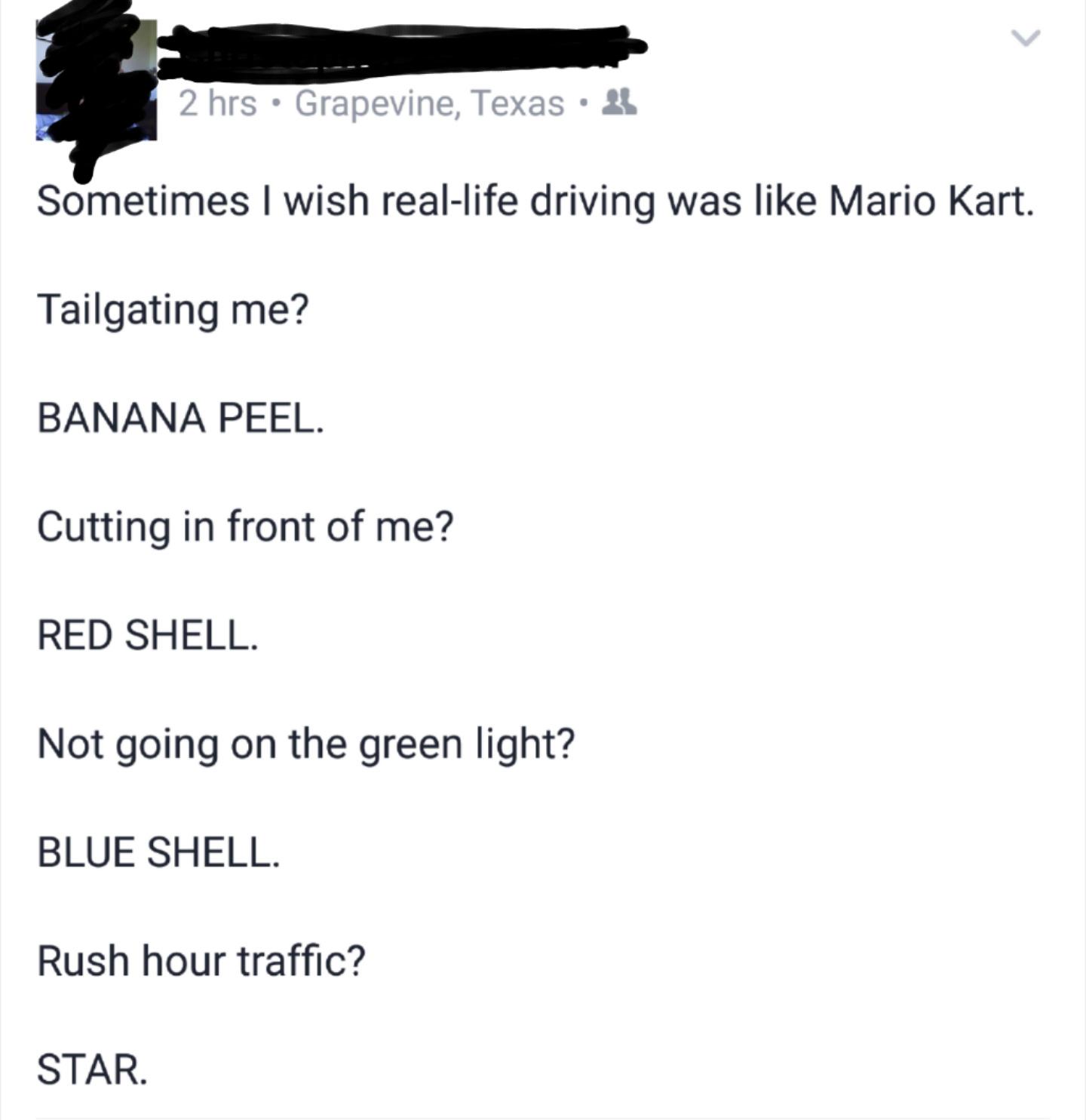 Mario kart IRL - meme