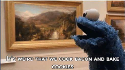 Cookie monster wants cookies cooked - meme