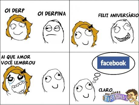 Facebook lembrando aniversários - meme