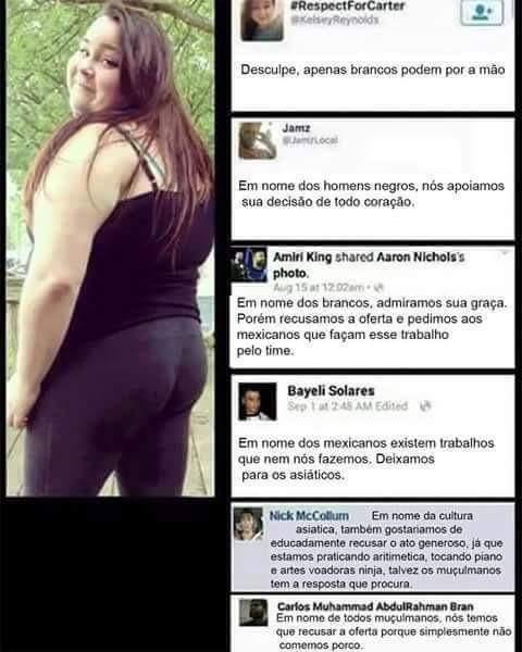 Além de gorda é racista - meme