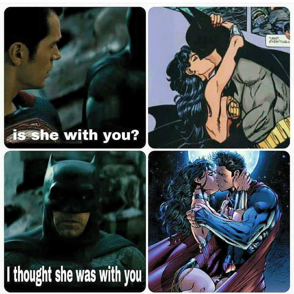 Name all the people Wonder Woman hooked up with - meme