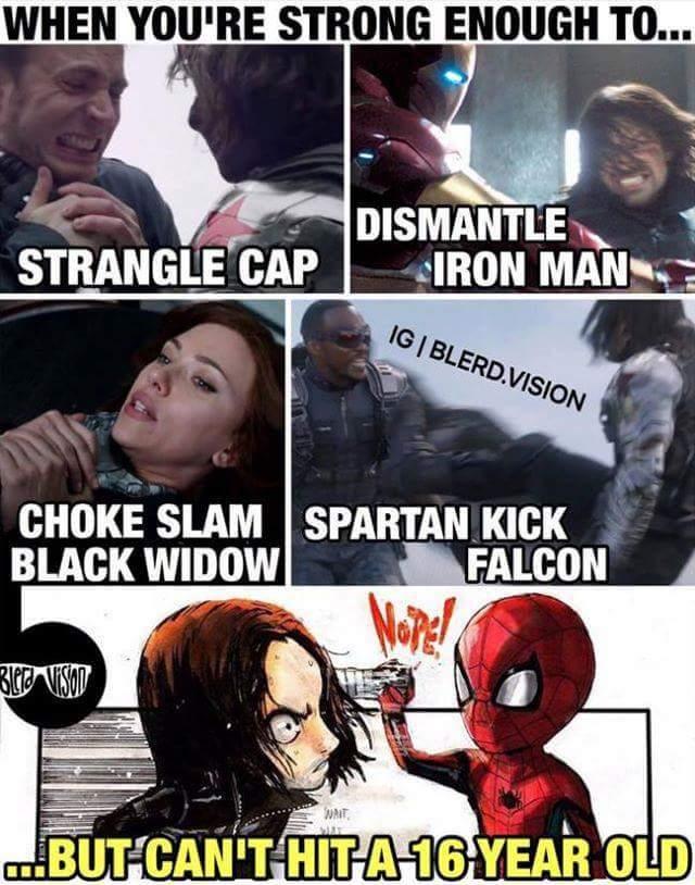 Winter soldier/bucky < spiderman - meme