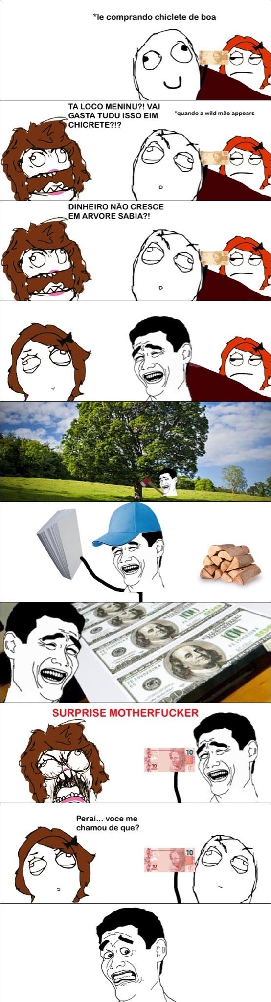 dinheiro=papel, papel=árvore kkjkjjjkjkk - meme