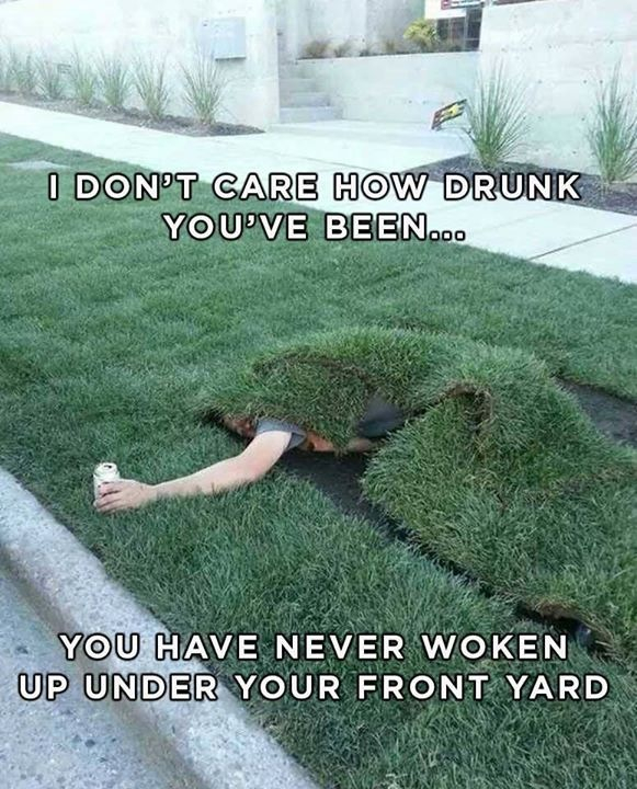 Heck I'm Irish we don't even make it to our lawn or out of the pub - meme