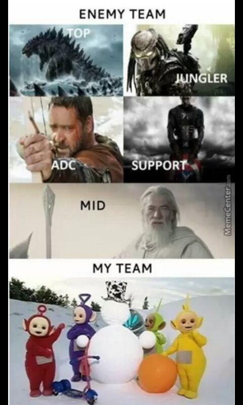 Equipos en los MOBA - meme