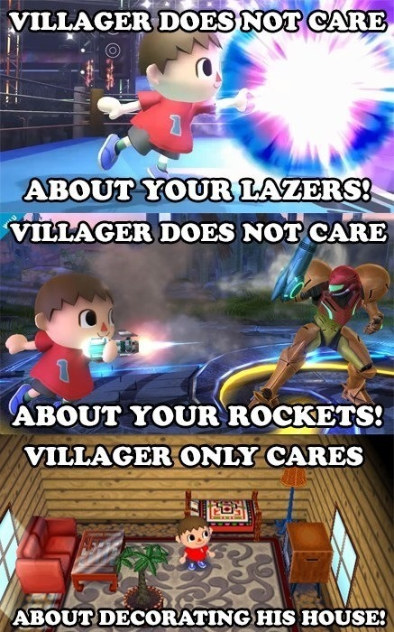 Villager don't care - meme