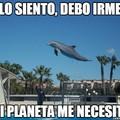 El título esta acompañando al delfín para salvar su planetas de las ballenas
