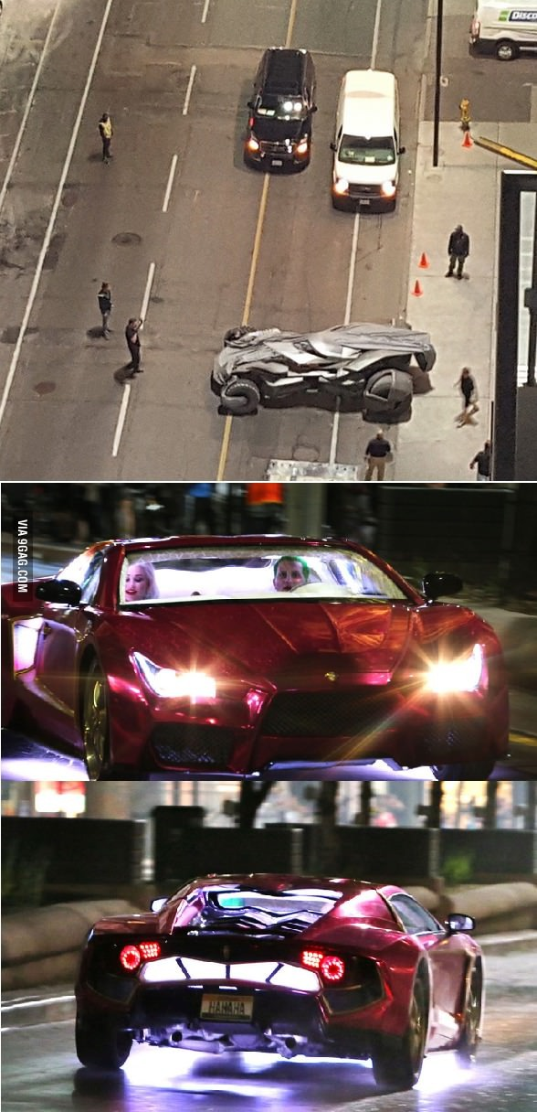 New batmobile and jokers car! (suicide squad) - meme