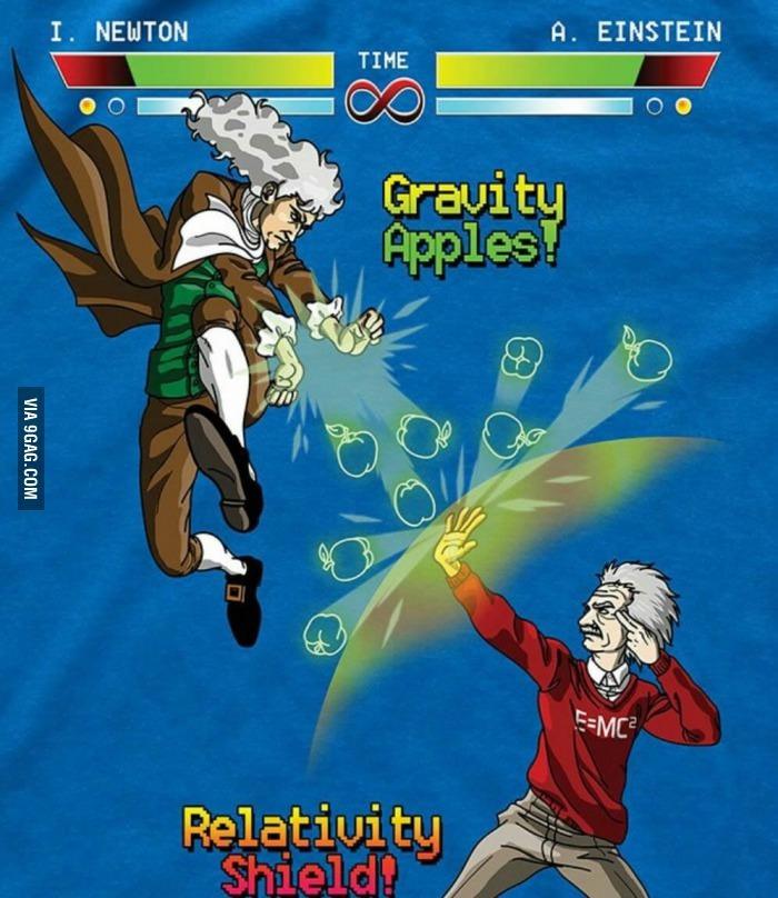 Newton V Einstein - meme