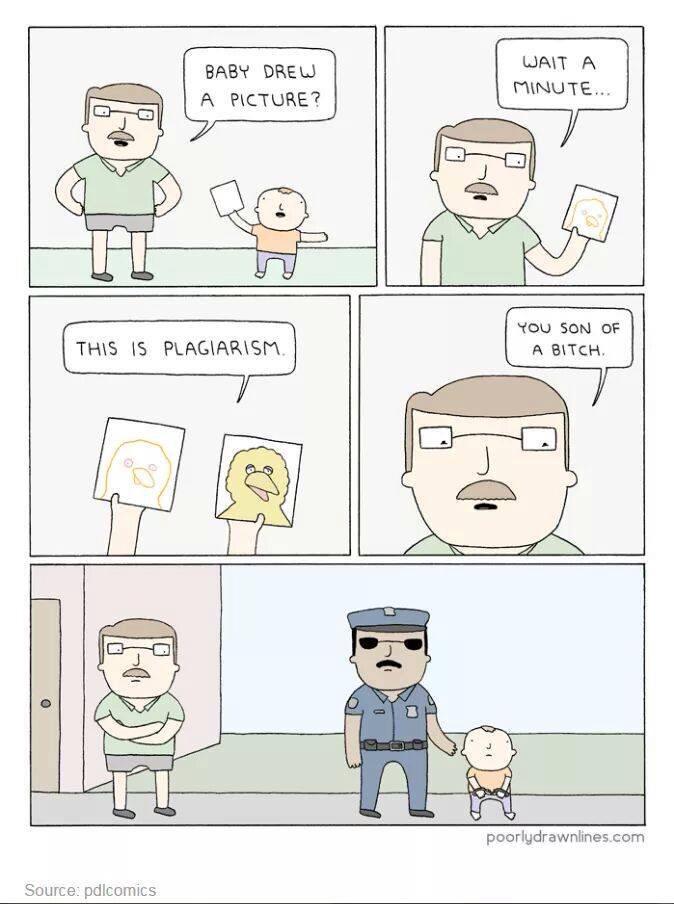 Plagiarism isn't a joke. - meme