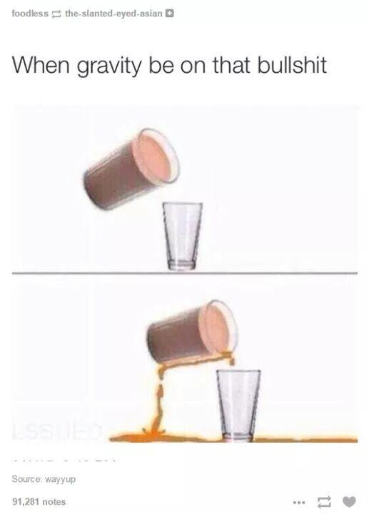 Orange milk is always defying gravity - meme