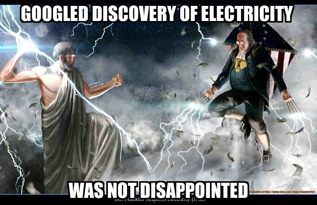 Ben Franklin flying on and American flag kite with Wolverine lightning claws - meme