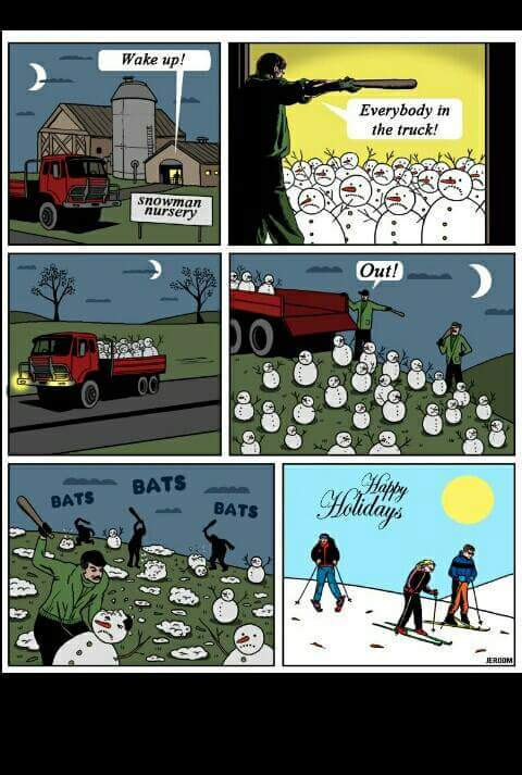 Think about the snowmen next time you shred - meme