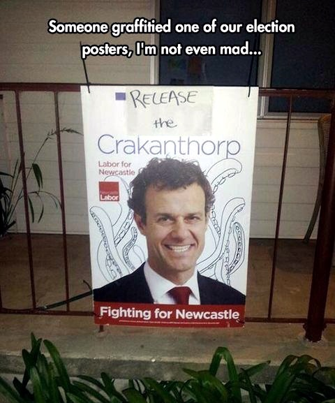 Election poster graffiti - meme