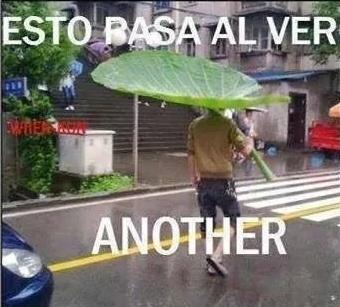 El trauma del paraguas - meme