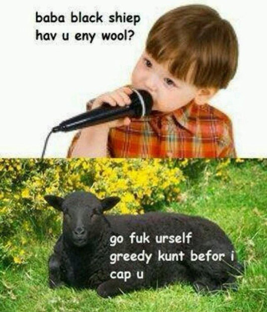 Baba black shiep hav u eny wool? - meme
