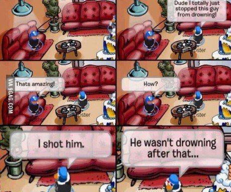 Clup Penguin gets real - meme