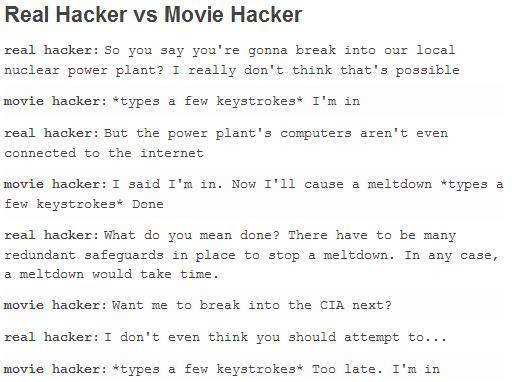 real vs movie hackers - meme