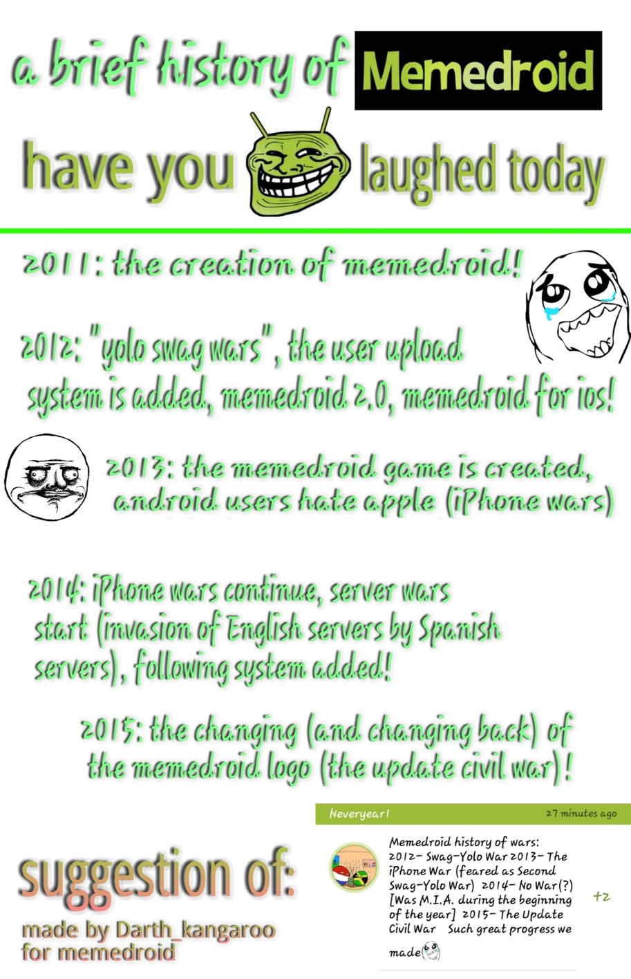 A history of memedroid. More originals coming soon. And ps im very sorry if any information is off, i had to do most from memory and it might not be the best so if anything is wrong i apologize