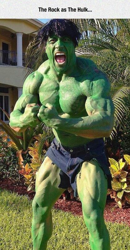 I thought the rock was hulk - meme