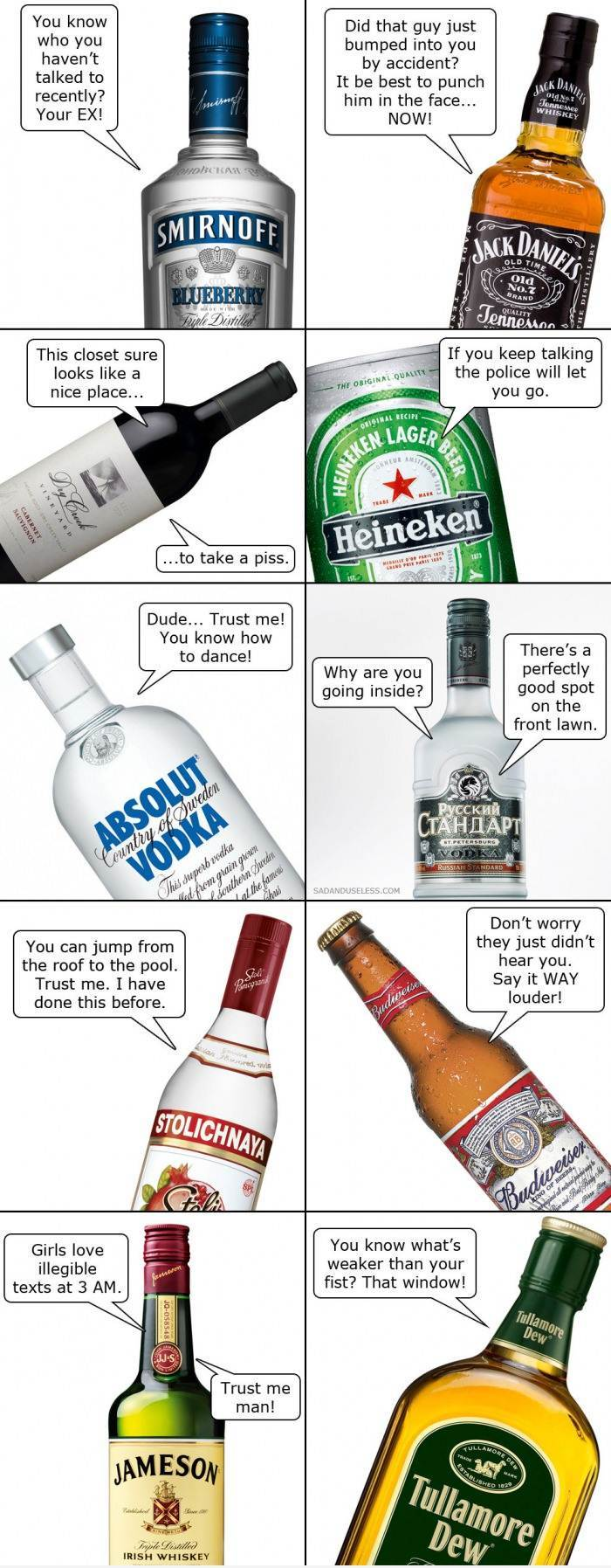 Effects of certain alcoholic drinks - meme