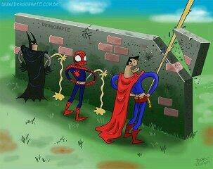 Batman vs superman : qui pissera le plus loin ? - meme