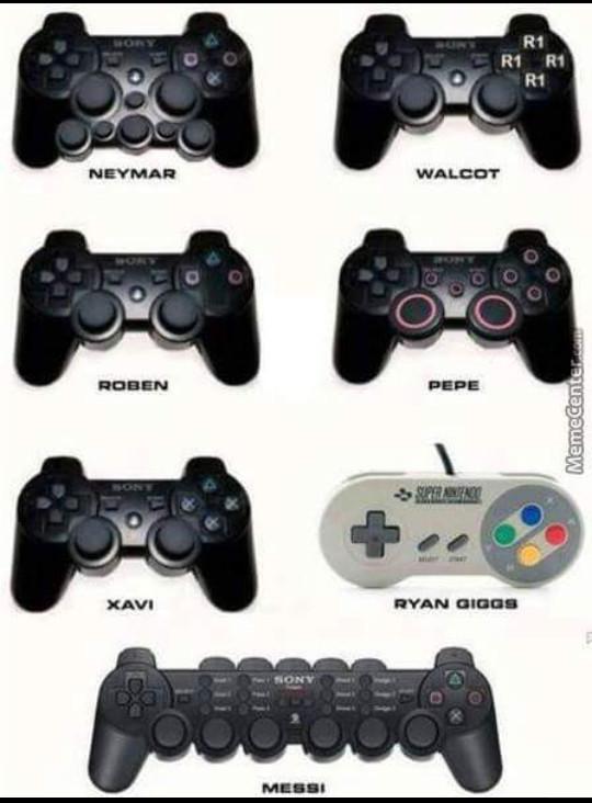Si los jugadores de futbol tuvieran sus propios controles \(     'U')/ - meme