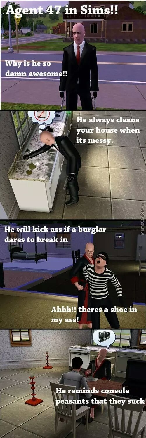 agent  47 us awesome in Sims - meme
