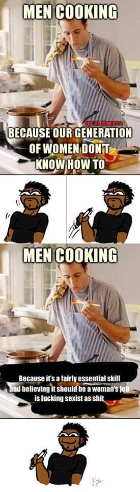 Cooking is a life skill for everyone - meme