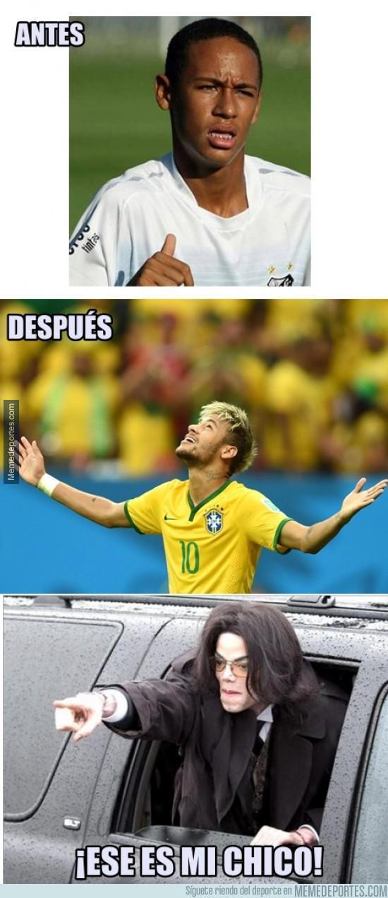 Neymar y su cambio de color - meme