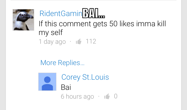 3rd comment goes bai bai - meme