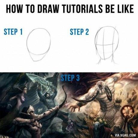 How to draw tutorials - meme