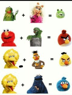 Barrio sesamo vs angry birds - meme