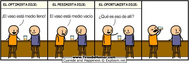 Optimista, pesimista y oportunista - meme
