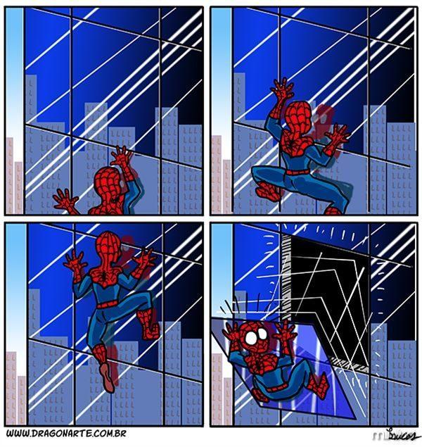 Homem aranha, homem aranha, nunca bate, sempre apanha - meme