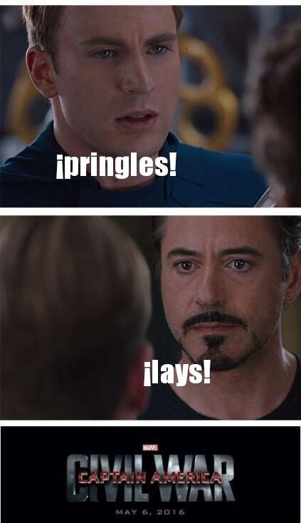 Guerra de chicos pringles - meme
