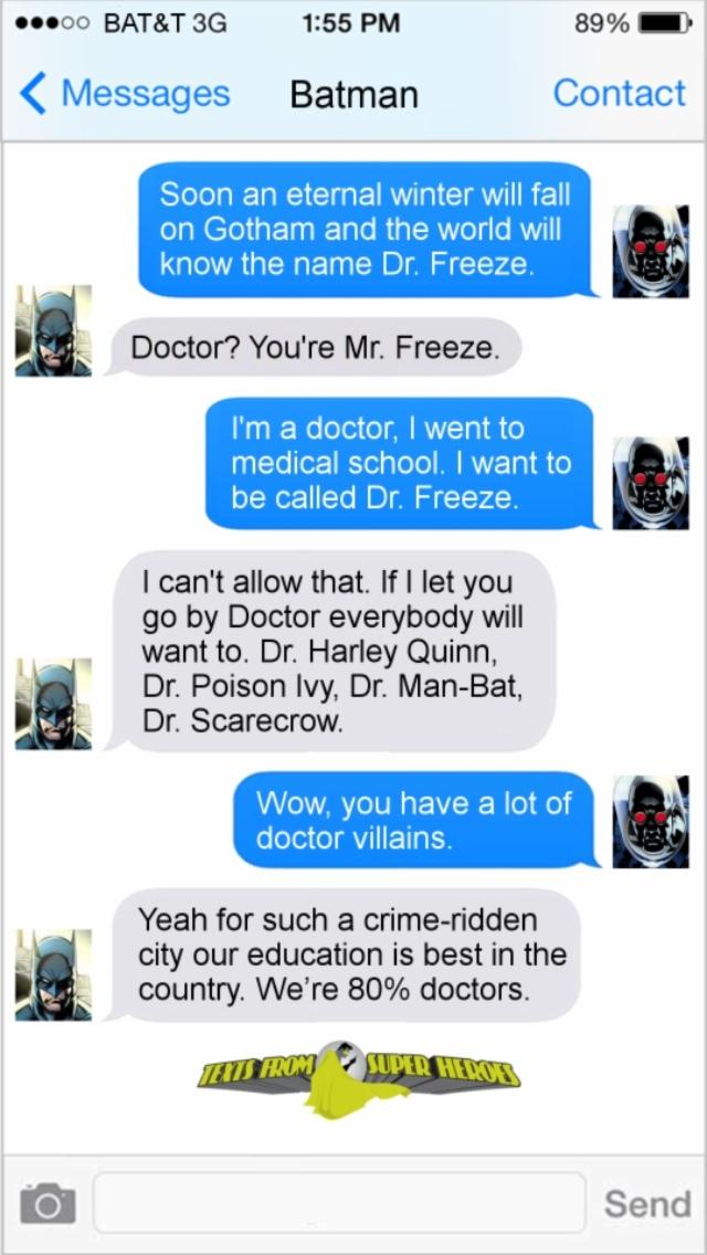 1st comment is Batman, 2nd is Doctor - meme