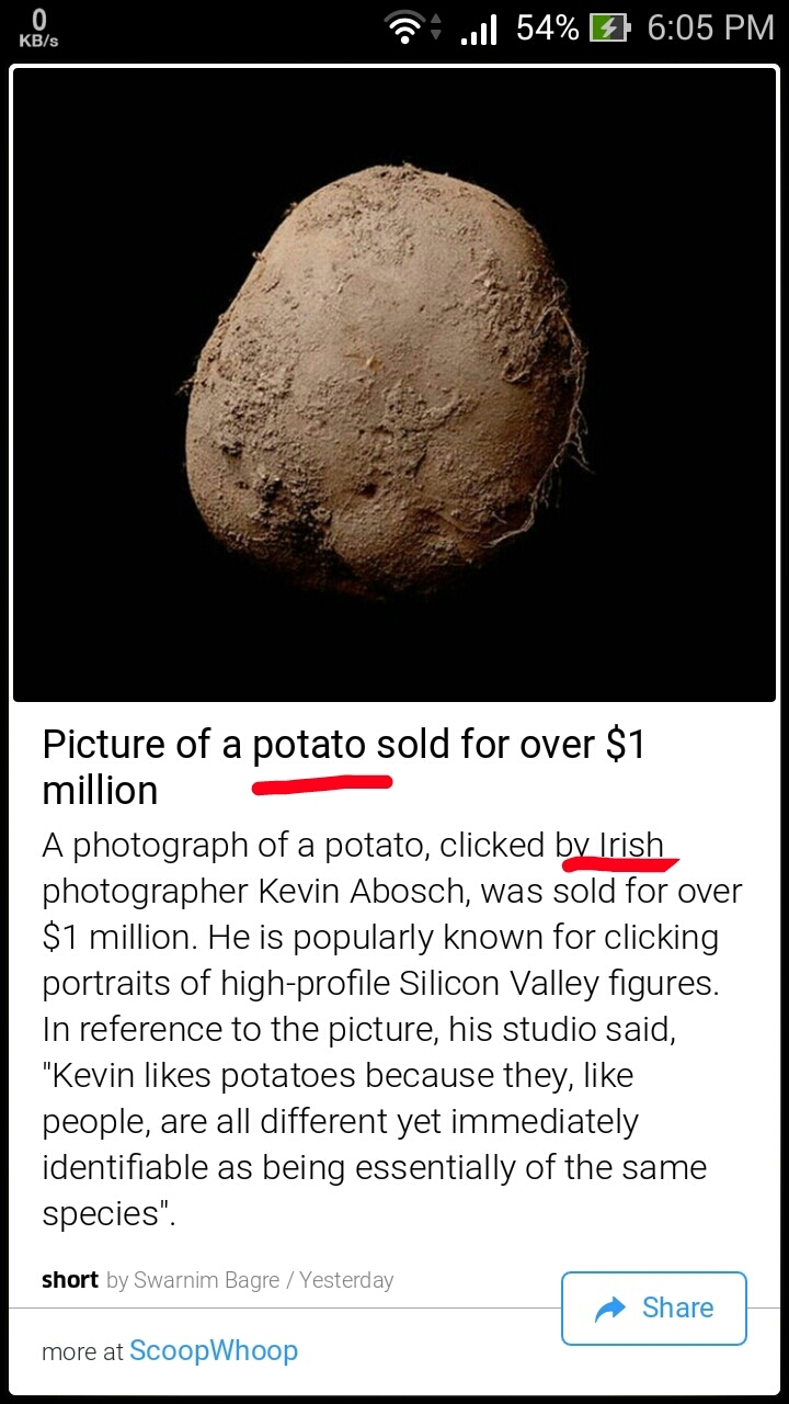 Irish people gotta stop fantasizing Potatoes - meme