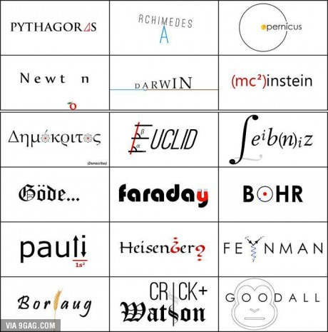 If famous scientists had logos - meme