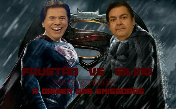 Faustão vs silvio >>> Batman vs Superman - meme