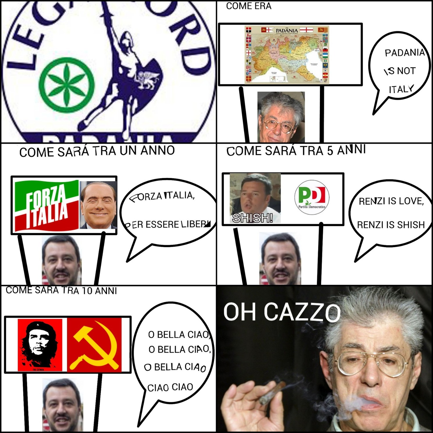 Come Salvini sta degradando la Lega Nord - meme
