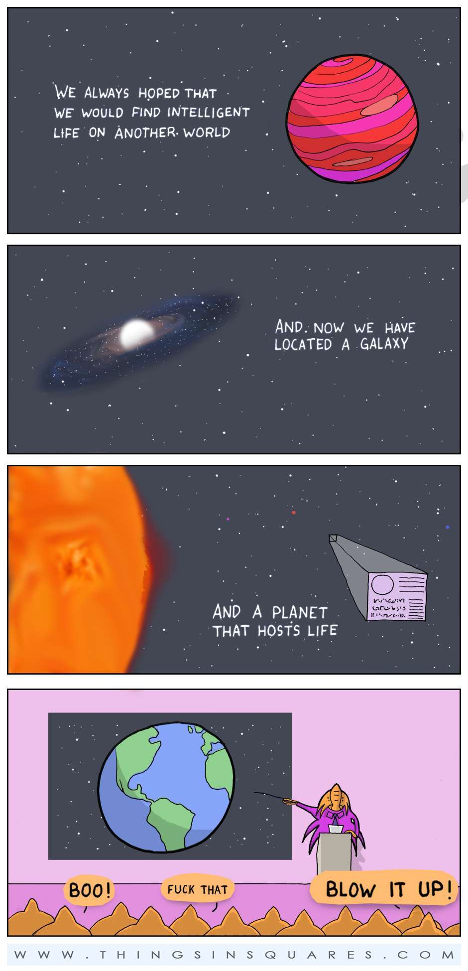 how aliens think of contacting earth - meme