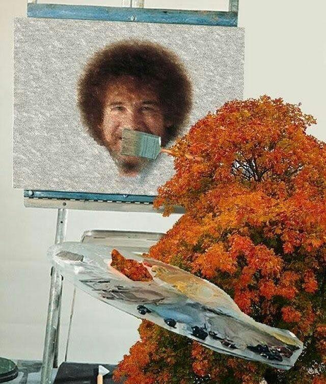 Happy tree paints happy Bob Ross - meme