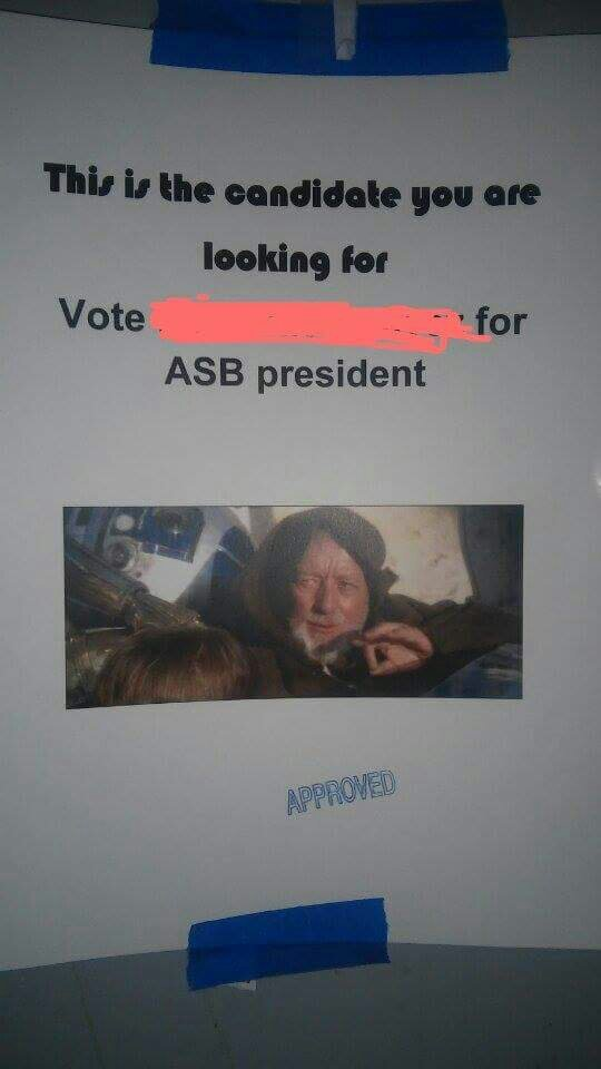 Found this at work... I hope she wins - meme