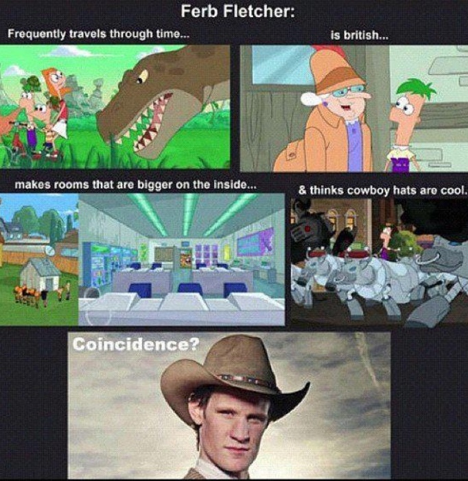 Ferb is a time lord - meme